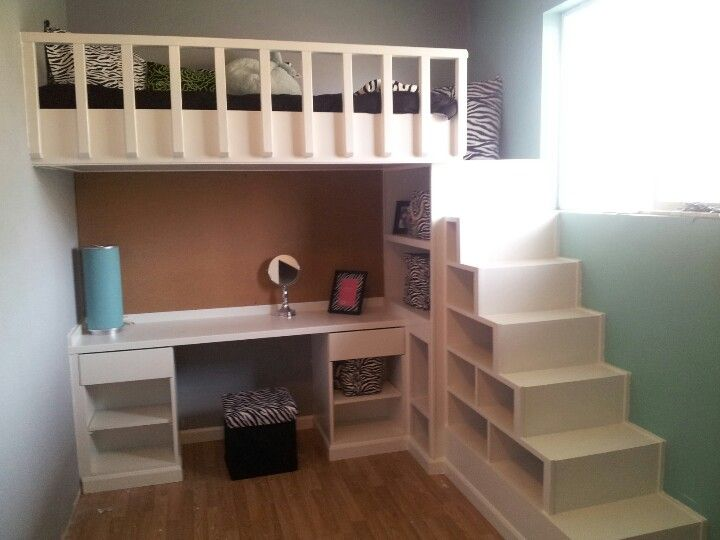 Loft Bed and Desk with shelves as stairs