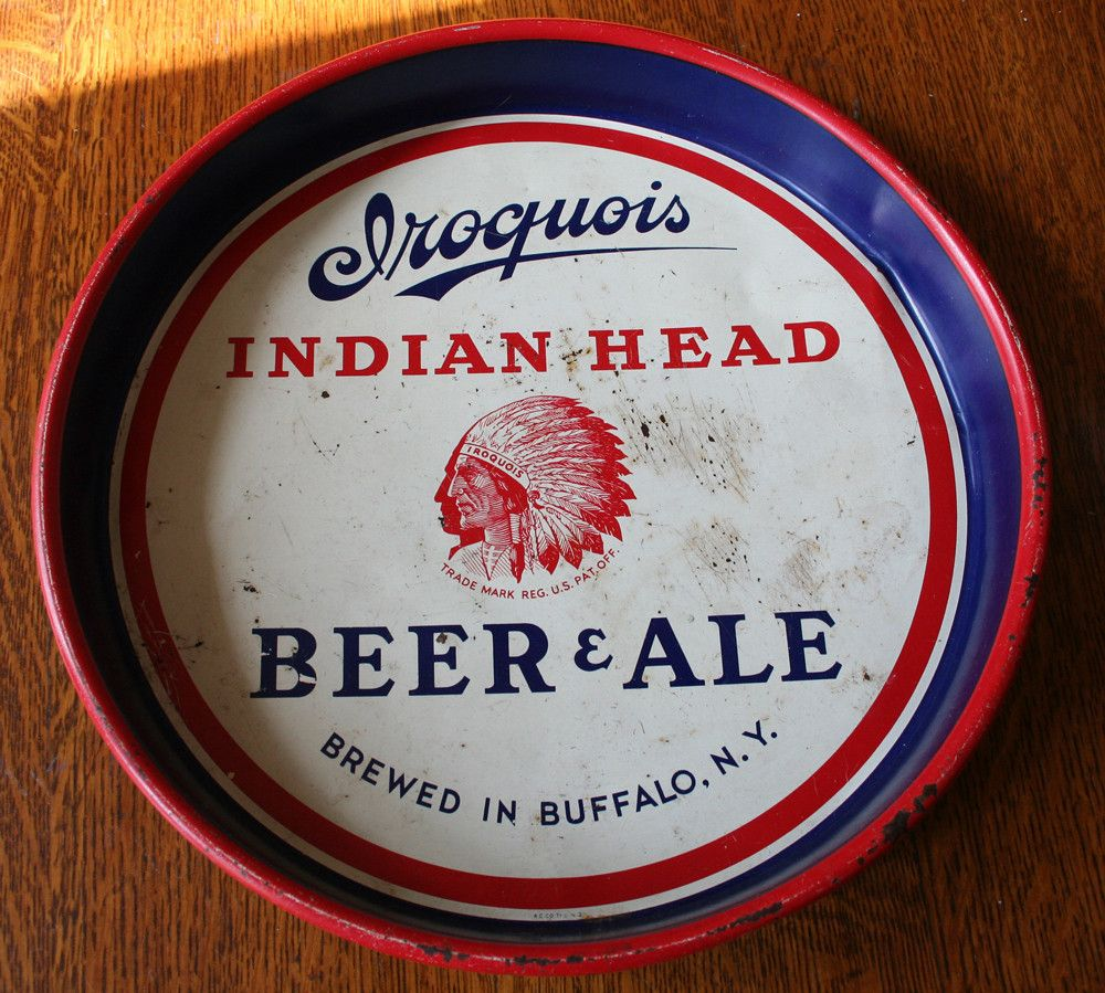Iroquois Indian Head Beer Ale  serving tray