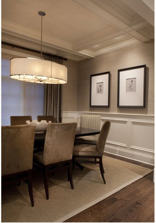 chair rail and wallpaper seeley dining room traditional dining room chicago michael abrams limited - Traditional Dining Room Light Fixtures