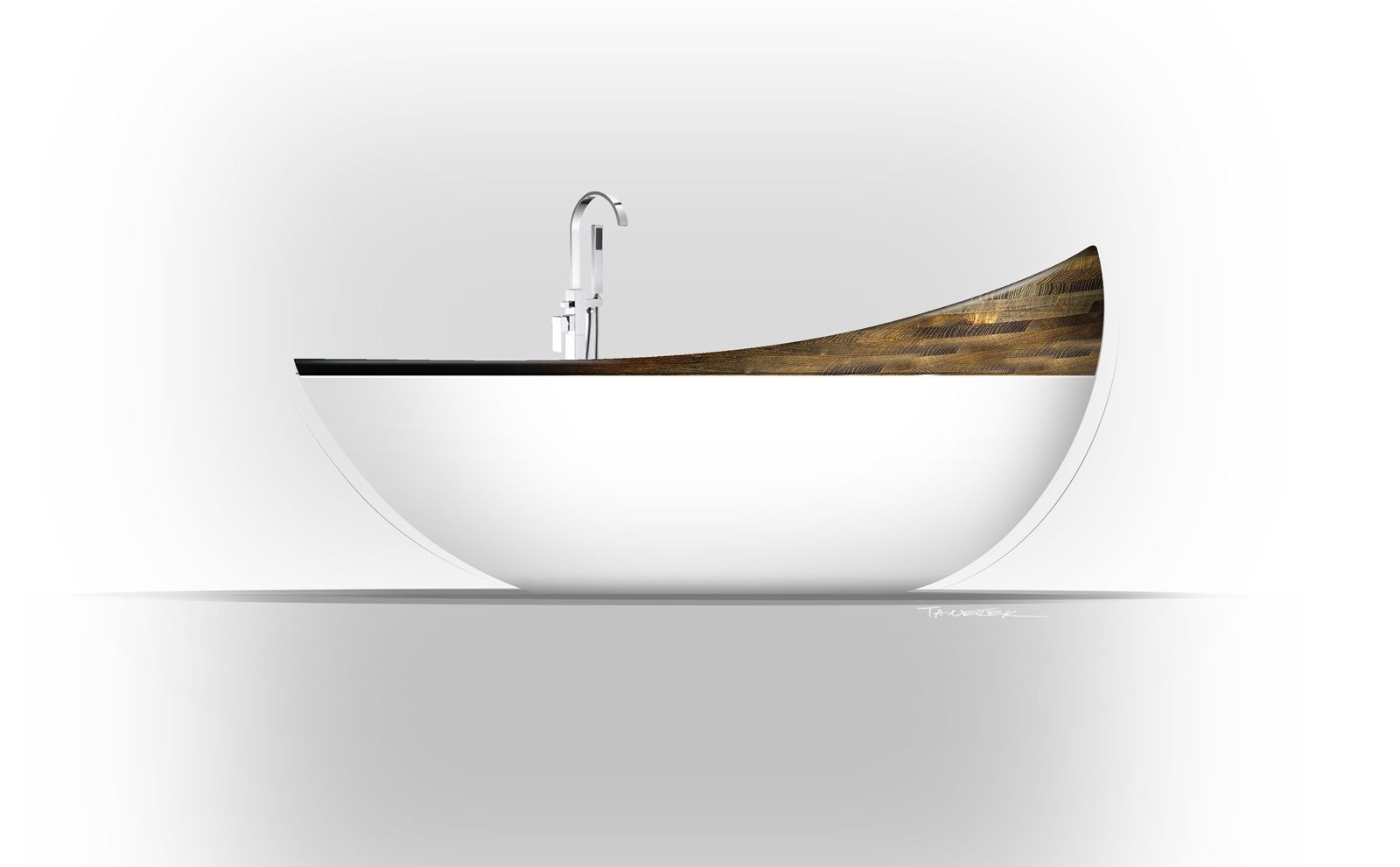 PAIRE - Luxury design bathtub with wooden ring marbel/wood  www.resine.info