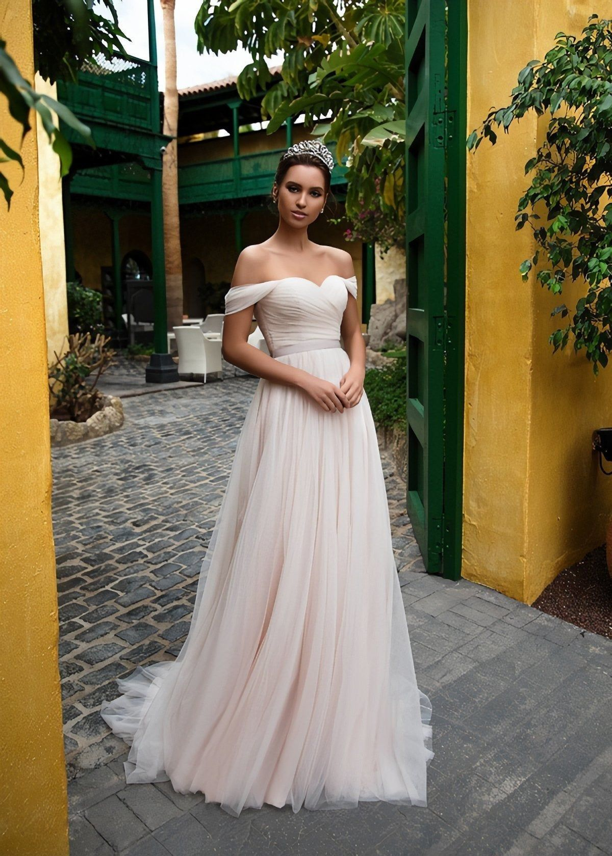 Simple A Line Off The Shoulder Wedding Dress Backless Casual Modest Bridal Gown In 2021 Modest Bridal Gowns Cheap Beach Wedding Dresses Backless Wedding Dress [ 1680 x 1200 Pixel ]