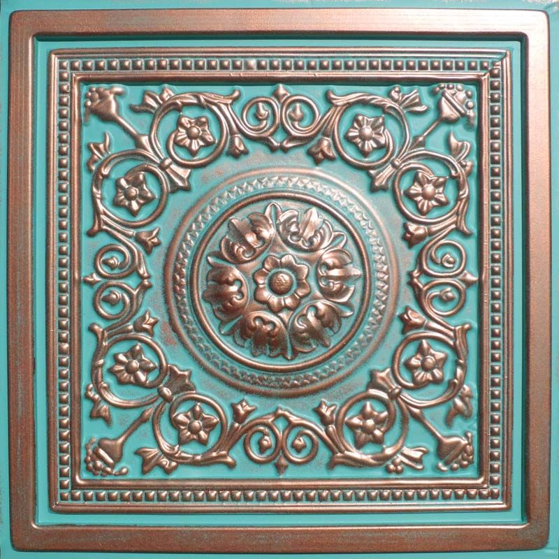 "24""x24"" Majesty Antique Copper Patina PVC 20mil Ceiling Tiles, Antique Ceilings- glue up ceiling tiles and drop in grid ceiling tiles- Antique Ceilings-"