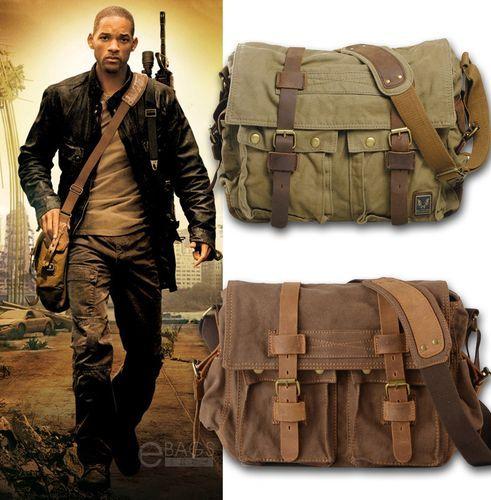 Men s Vintage Canvas Leather Satchel School Military Shoulder Bag Messenger  Bag   eBay b327a0ee94