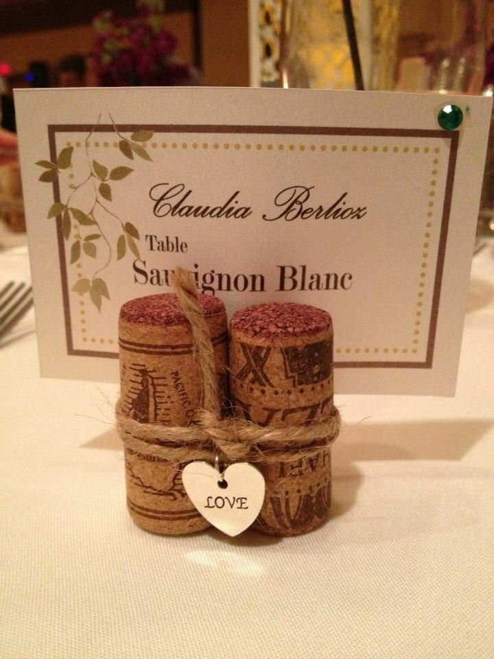 I Made These Cork Place Card Holders For My Nephews Wine Theme Wedding Hot Glued 3 Corks Together Bought The Heart Charms At Michaels