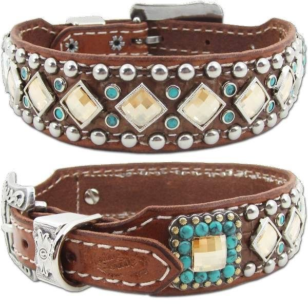 Western Leather Dog Collar Turquoise Stones And Bling Leather
