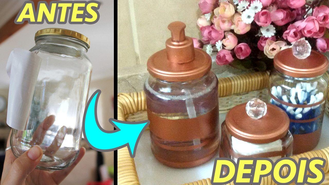 Aparador Preto Para Sala ~ Decoraç u00e3o com Pote de Vidro Kit Higiene Reciclagem DIY artesanato faça voc u00ea mesmo