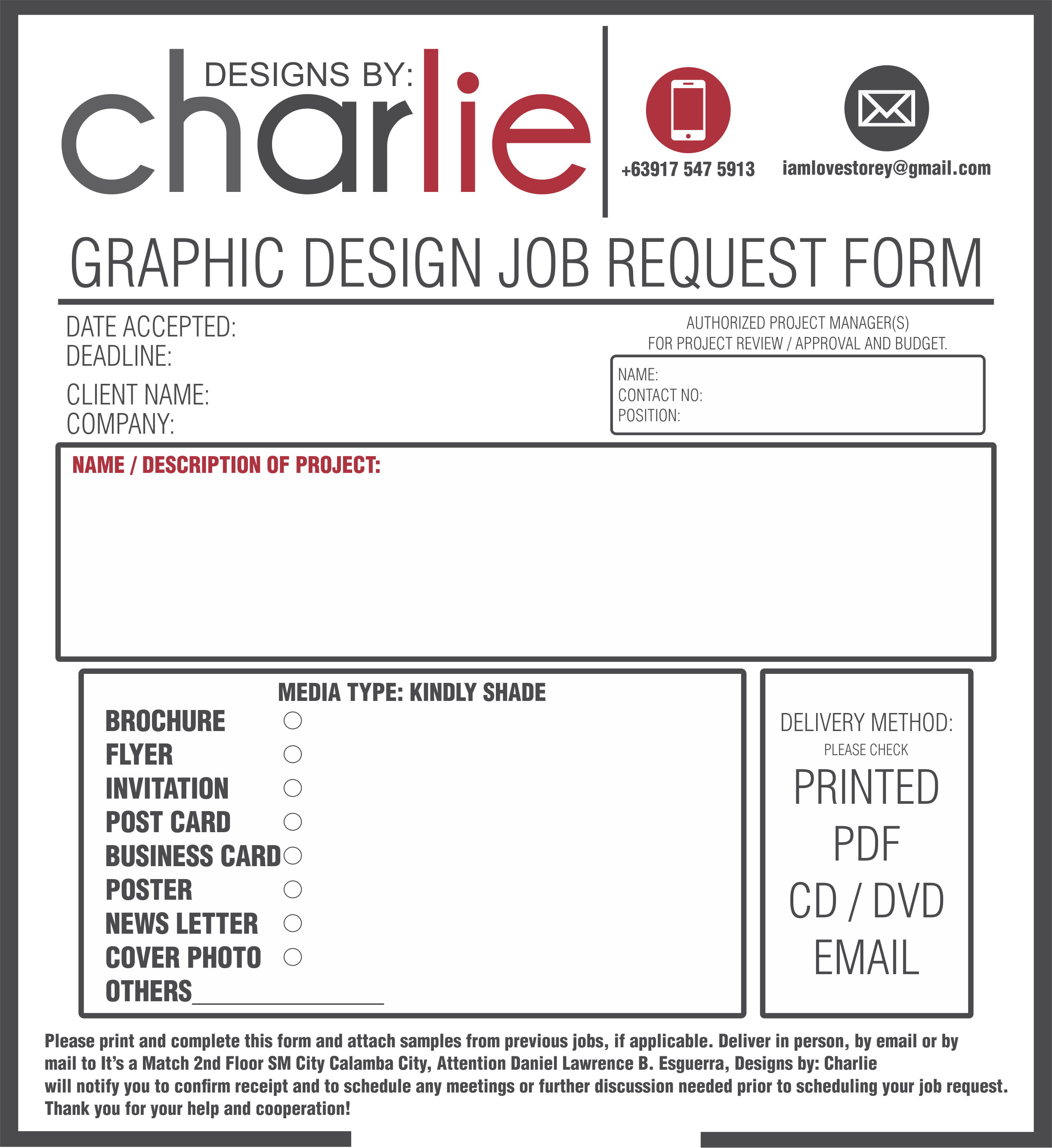 Job Order Form  Graphic Design    Order Form
