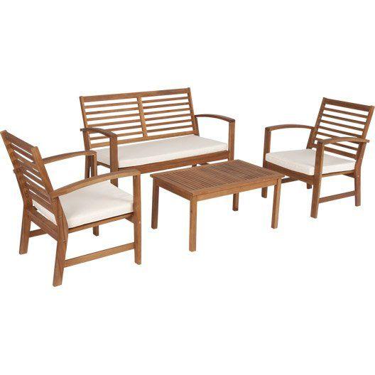 Salon Bas De Jardin Acacia Bois Marron 1 Table 1 Banc 2 Chaises Fauteuil Bas Mobilier Jardin Mobilier De Salon