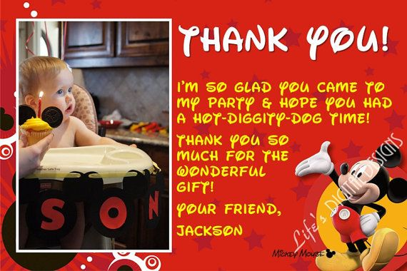Mickey Mouse Thank You Card With Photo Option Customizable Printable