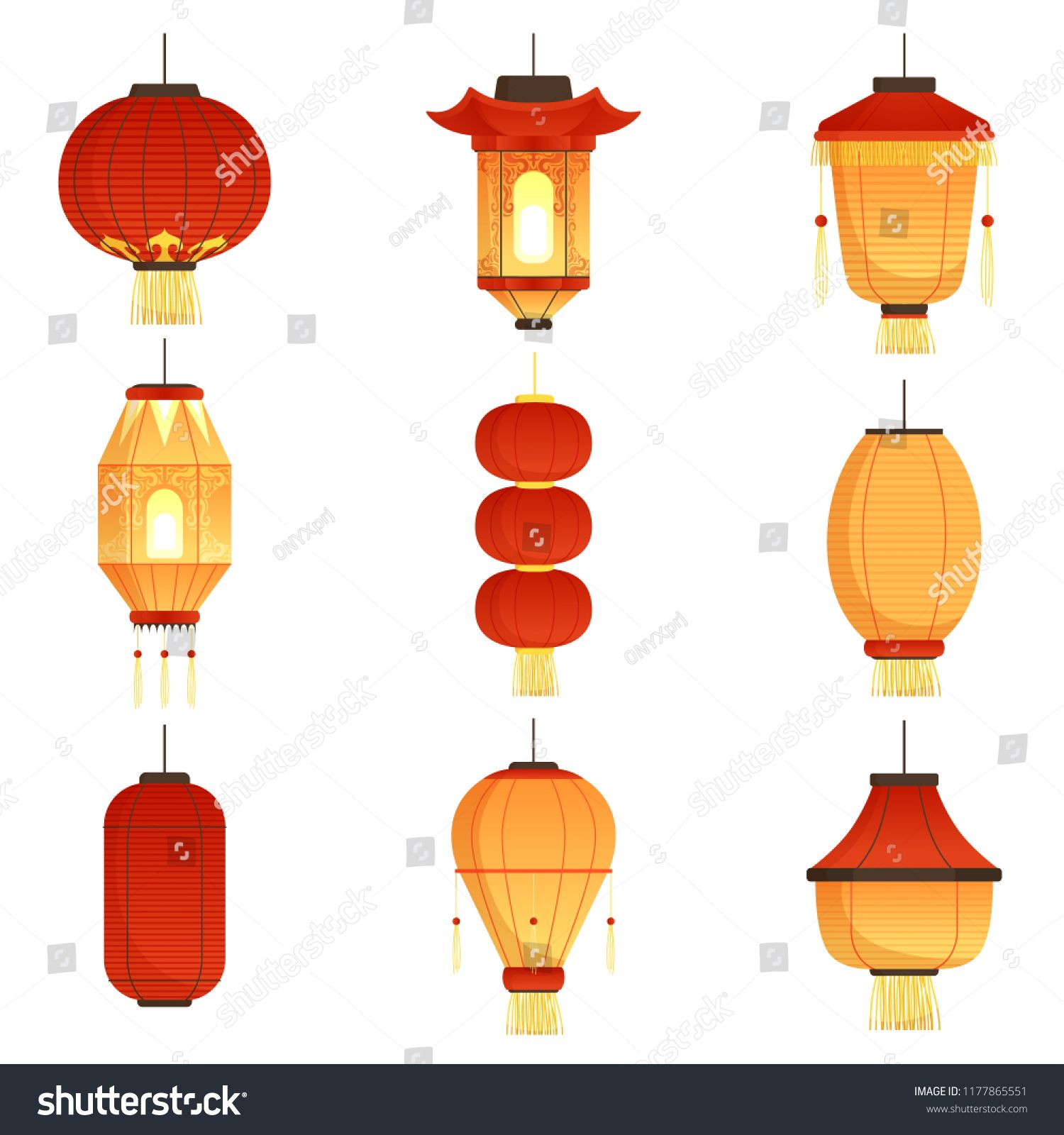 Asian Cartoon Lanterns Chinese And Chinatown Festival Papers Lanterns Vector Illustrations Holiday Chinese El In 2020 Chinese Lights Asian Lamps Lantern Illustration