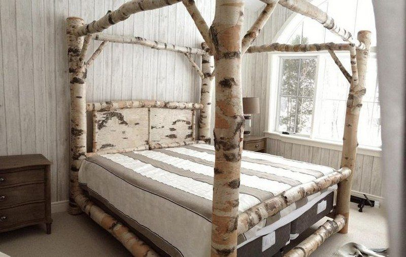 Warm And Inviting Rustic Log Beds Canopy Bed Frame Bed Frame Design Wood Canopy Bed