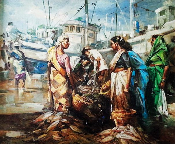 Market Composition Painting Indian Paintings Painting