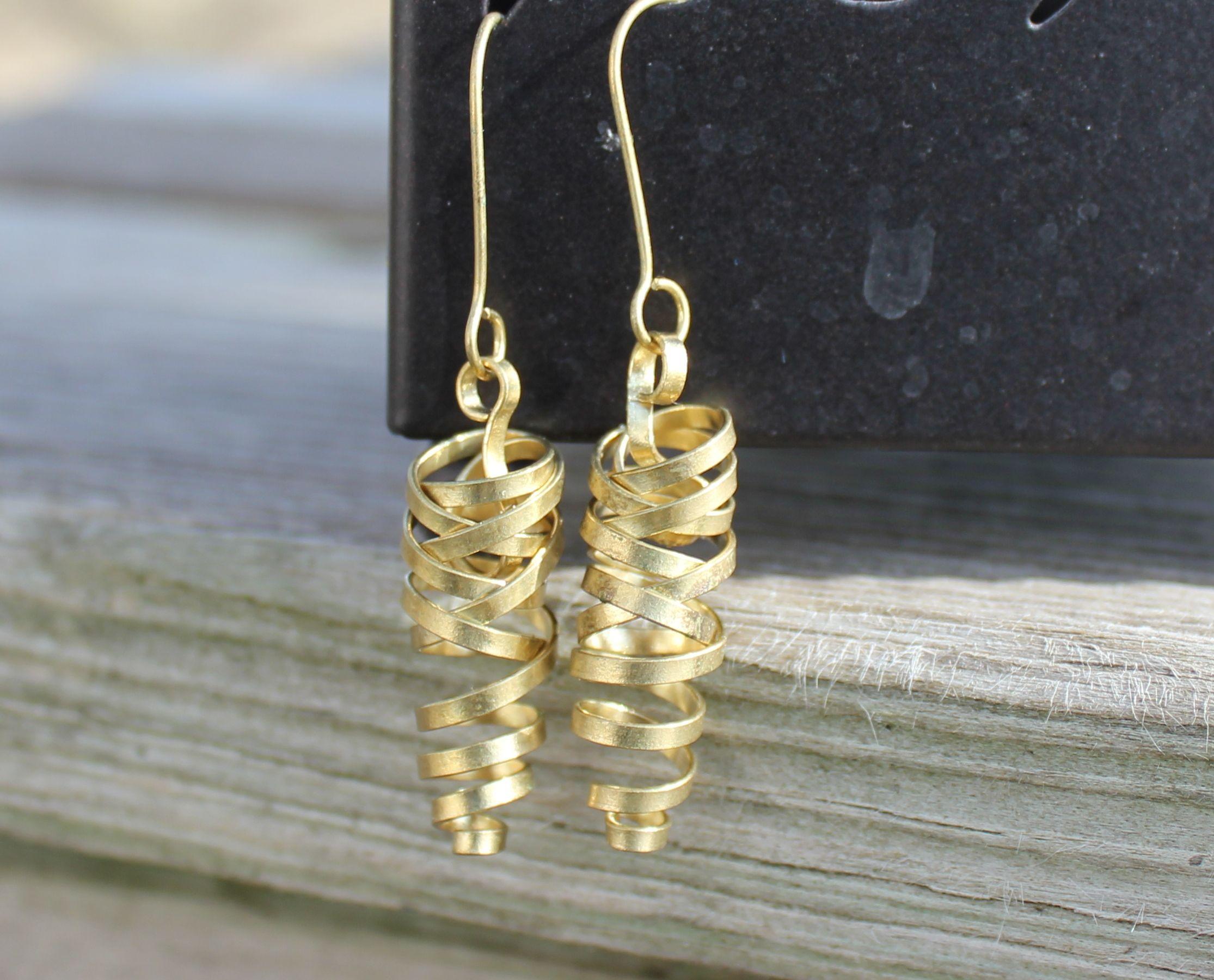 Brass Twisted Earrings - Handmade in Peru by Fair Trade Artisans.