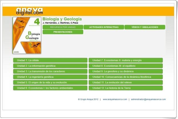 Anaya Digital Biología Y Geología De 4º De Secundaria Biología Ciencias Naturales Geología