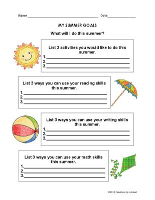 Summer Goal Setting Worksheets From    Creations By L Ackert On