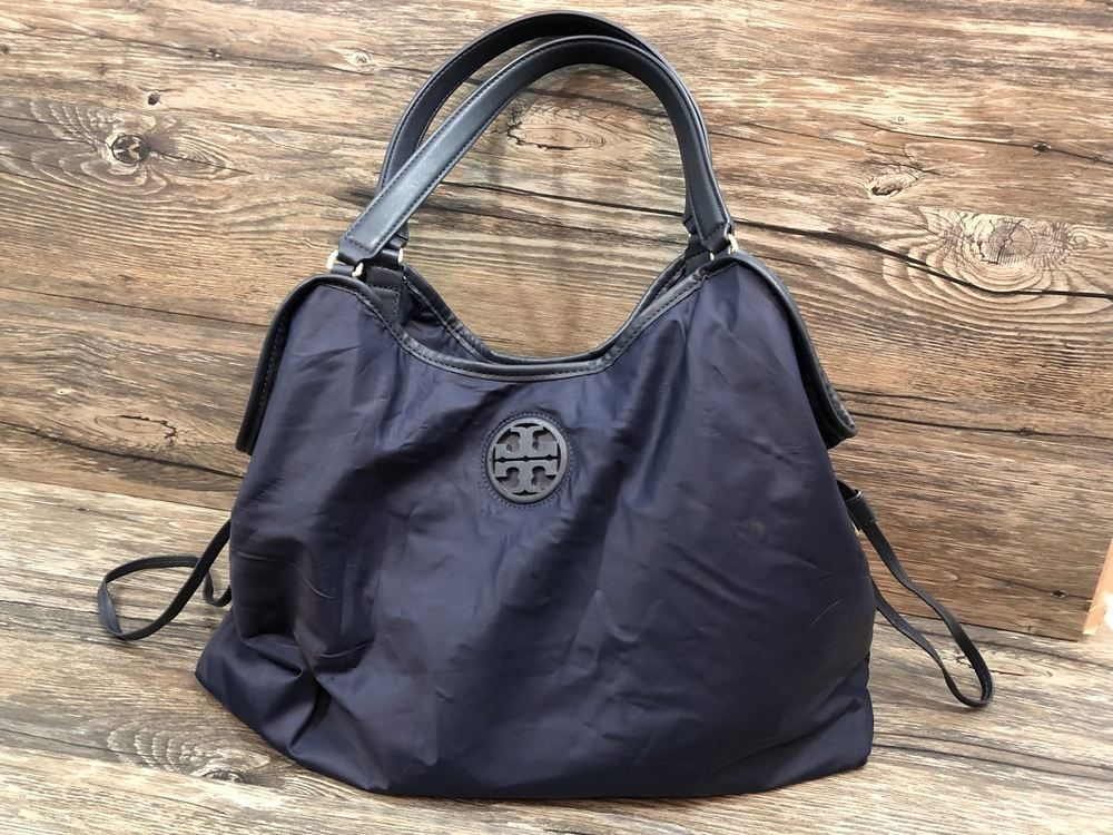 d36f2e6eec3 Tory Burch Nylon Slouchy Tote Shoulder Bag Navy 47
