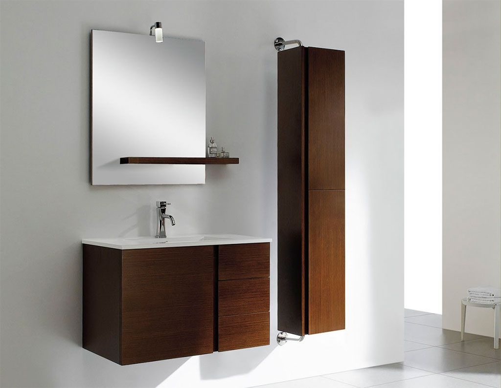 At adornus caleb 40 inch modern wall mounted bathroom for Modern bathroom cabinets ideas