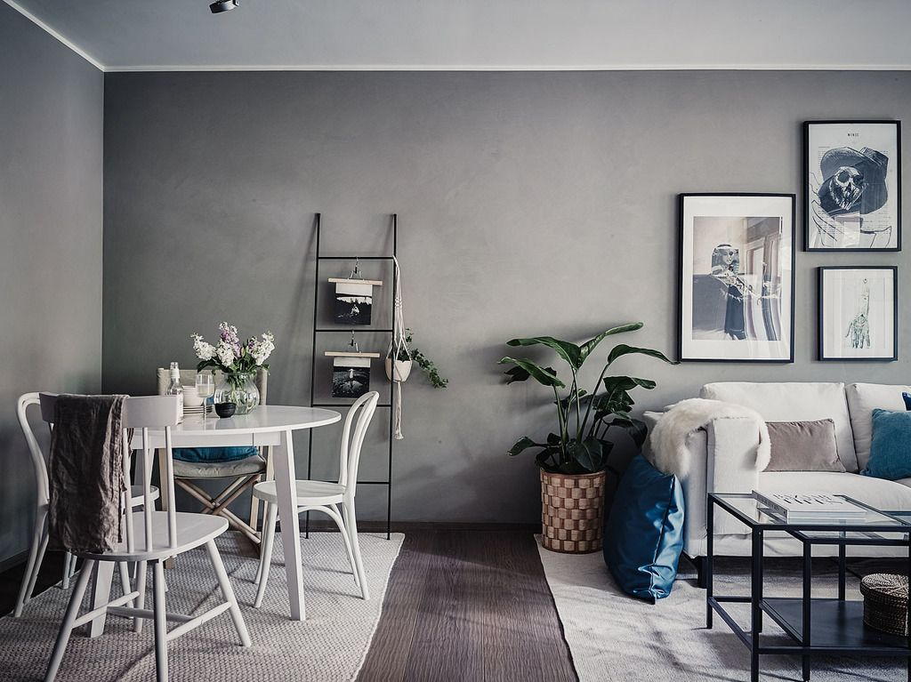 Small living room in grey and white living room blog for Tiny dining space ideas