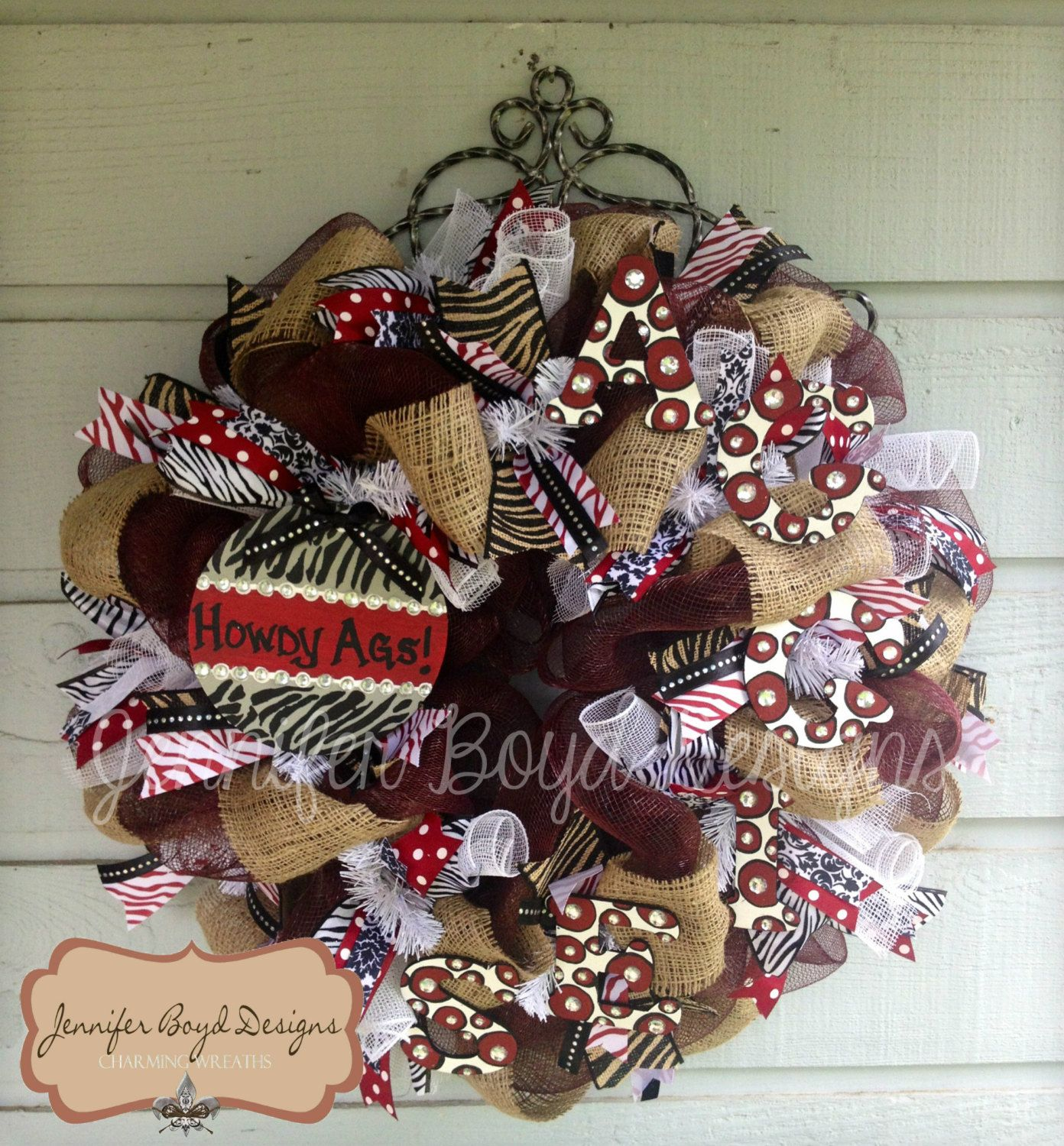 deco mesh wreath FORMs | Texas A ATM Aggies Deco Mesh Wreath with Burlap, Hand-painted ...