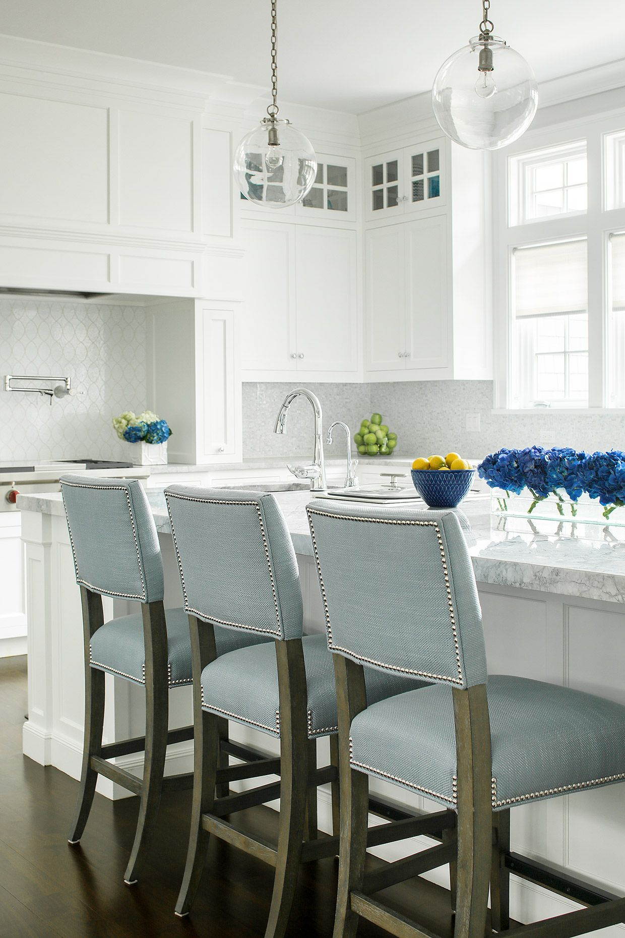White On White Kitchen Baby Blue Pop Jem Cabinetry Stools
