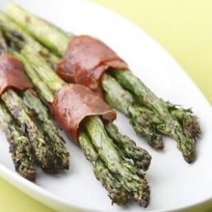 Prosciutto-Wrapped Asparagus  From EatingWell:  March/April 2009