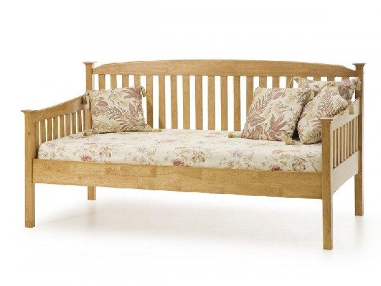 serene eleanor 3ft single oak wooden day bed frame by serene furnishings - Wood Daybed Frame