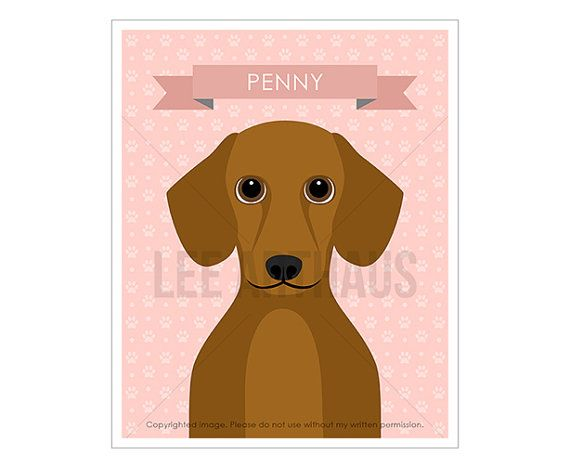 Dachshund Wall Art 21n pet decor - personalized red haired dachshund wall art