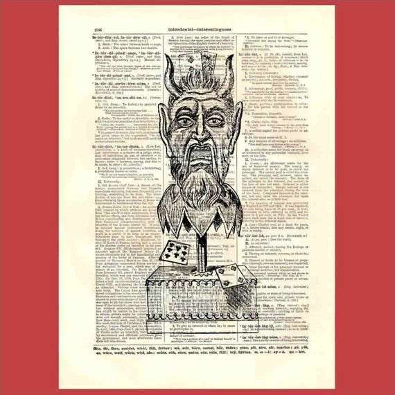Victorian Devil Card Trick Mechanism - upcycled 8x10 1898 dictionary page print