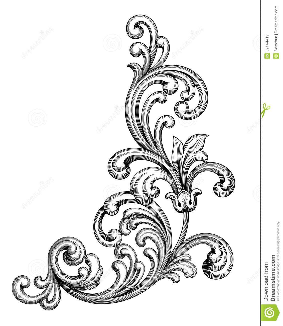 Vintage Baroque Victorian Frame Border Monogram Floral Ornament Scroll Engraved Pattern Tattoo Flower Tattoo Designs Victorian Frame
