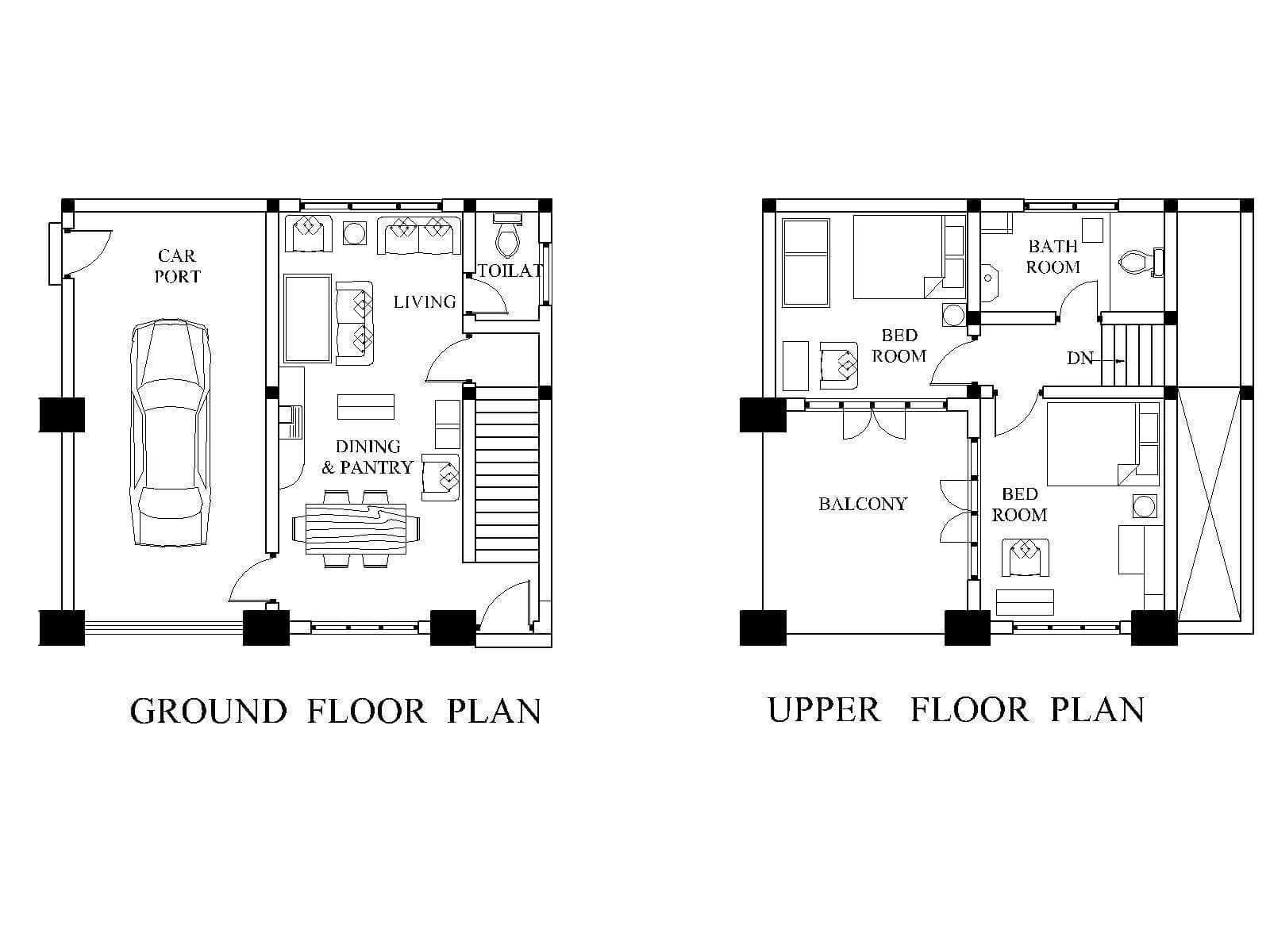MODERN HOUSE PLAN PDF of Blueprint 1462 SF New Home Design