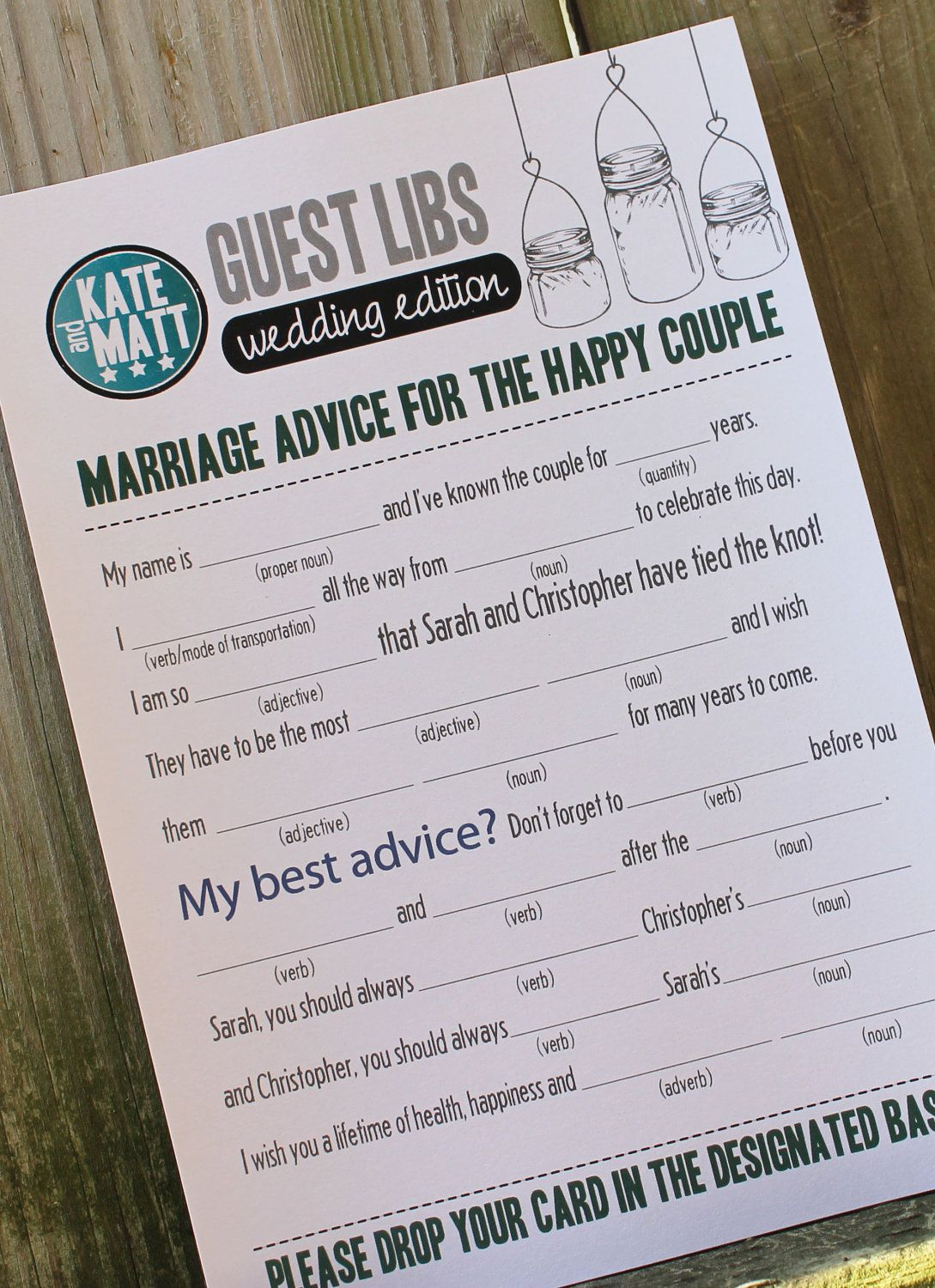 Wedding Mad Libs Mason Jars Set Of 100 Printed Totally Customizable 149 00 Via Etsy