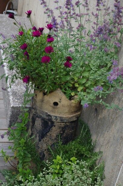 Pin By Linda Wines On Garden Chimney Pot Planter Rustic Planters Planting Pots