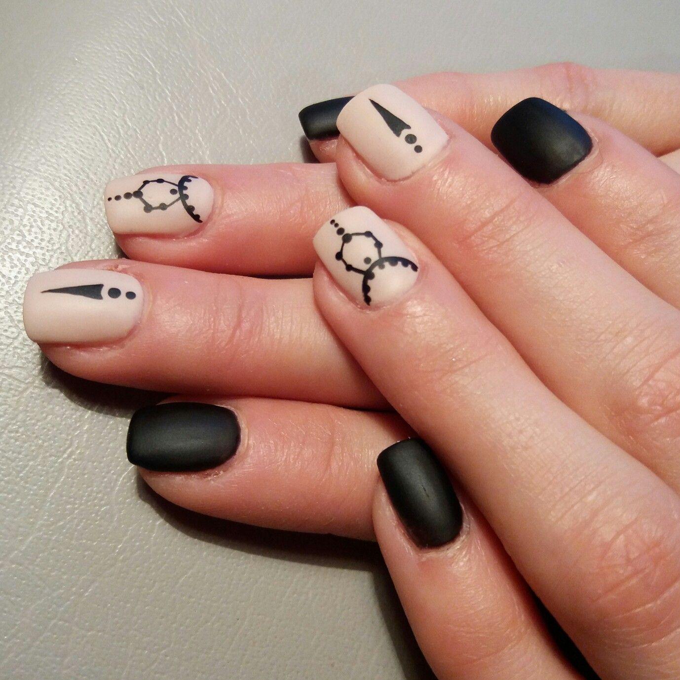 Black and cover matt gel nails with ornaments.   Nails,Nail design ...