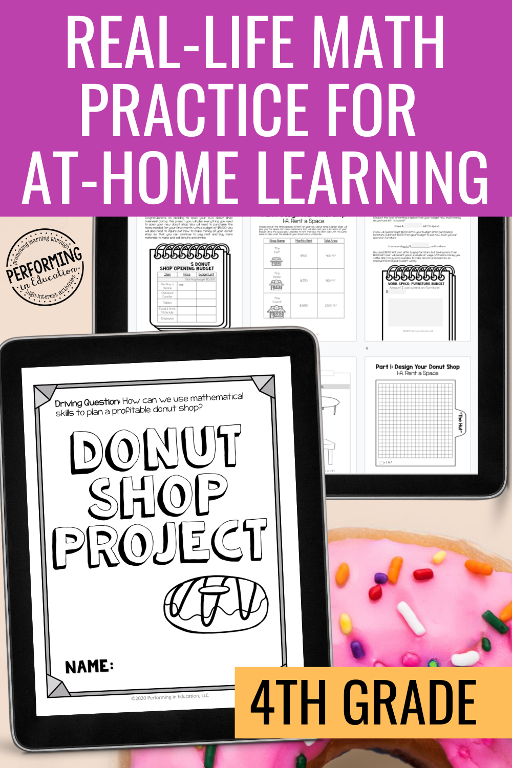 4th Grade Math Project Based Learning Distance Learning  | Print + Google File