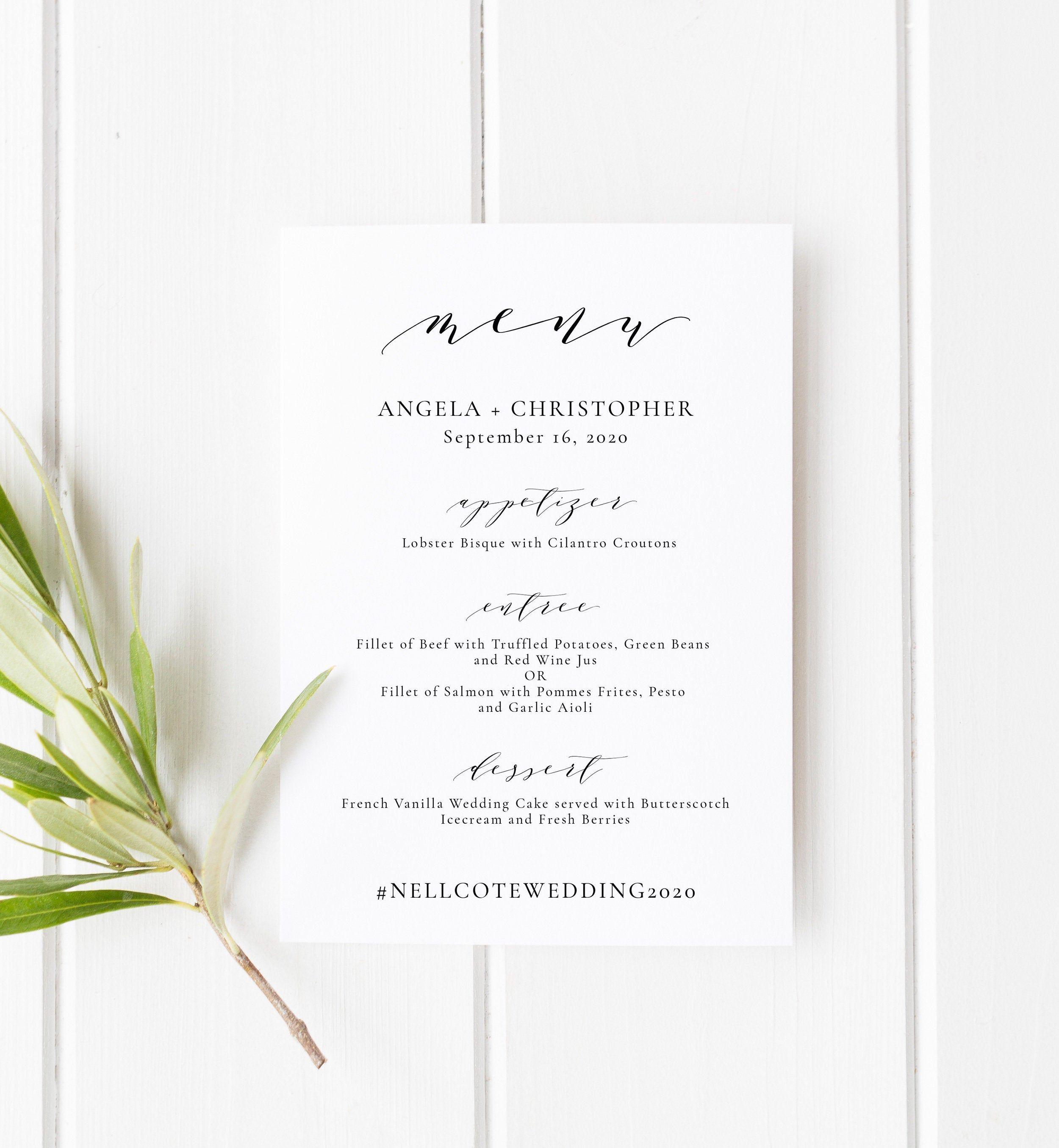 Wedding Menu Reception Card Printable Menu Templett Menu Diy Etsy Wedding Menu Template Printable Wedding Menu Wedding Menu Template