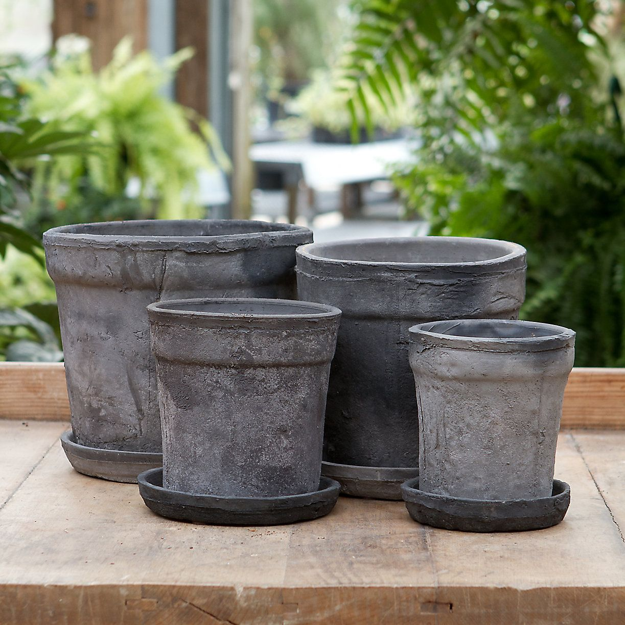 Earth fired clay wide rim pot saucer slate 4 10 in garden earth fired clay pots at terrain - Indoor plant pots with saucers ...