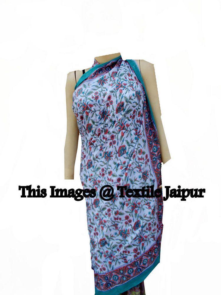 e513a20433f43 5 Indian Cotton Women's Sarong Sexy Lady Long Scarf Floral Print Pario  Swimwear #Handmade #Swimdress
