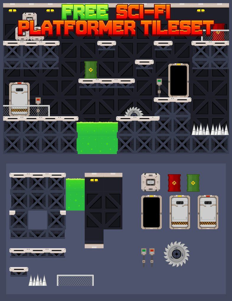 Free platformer game tileset suitable for sci-fi, futuristic