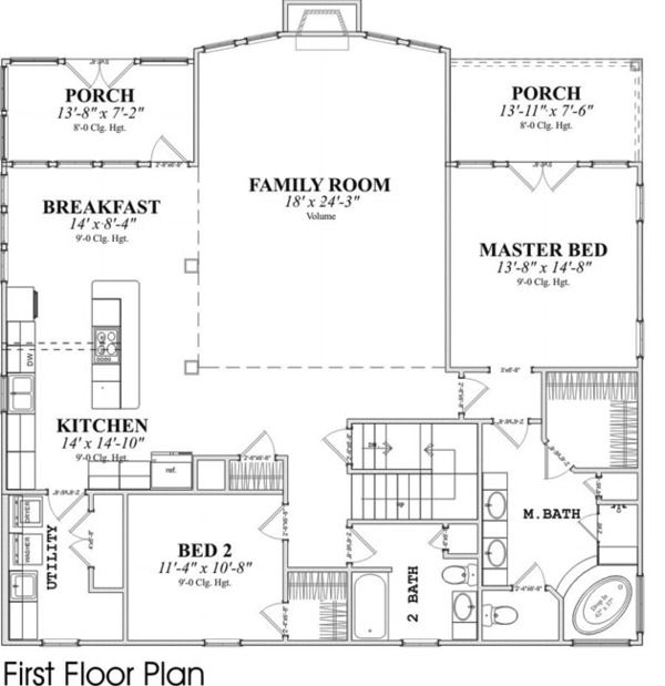 Contemporary Style House Plan 4 Beds