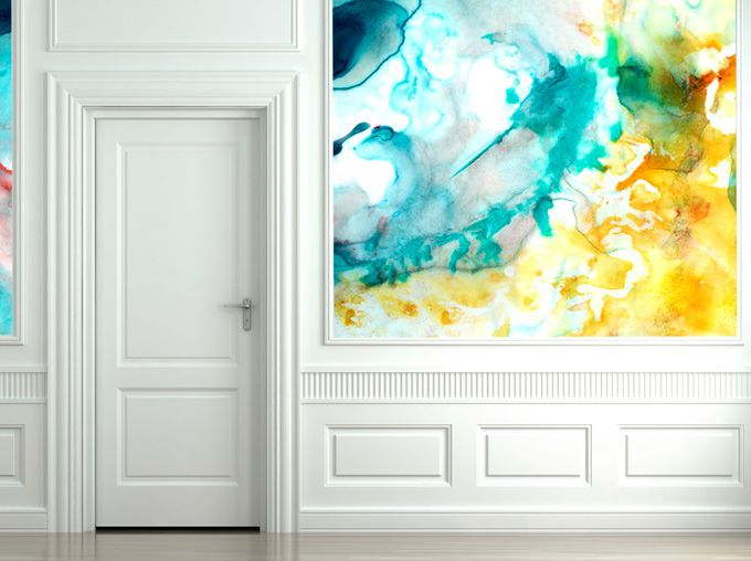 Paredes pintadas a la acuarela para casas con mucho arte Home
