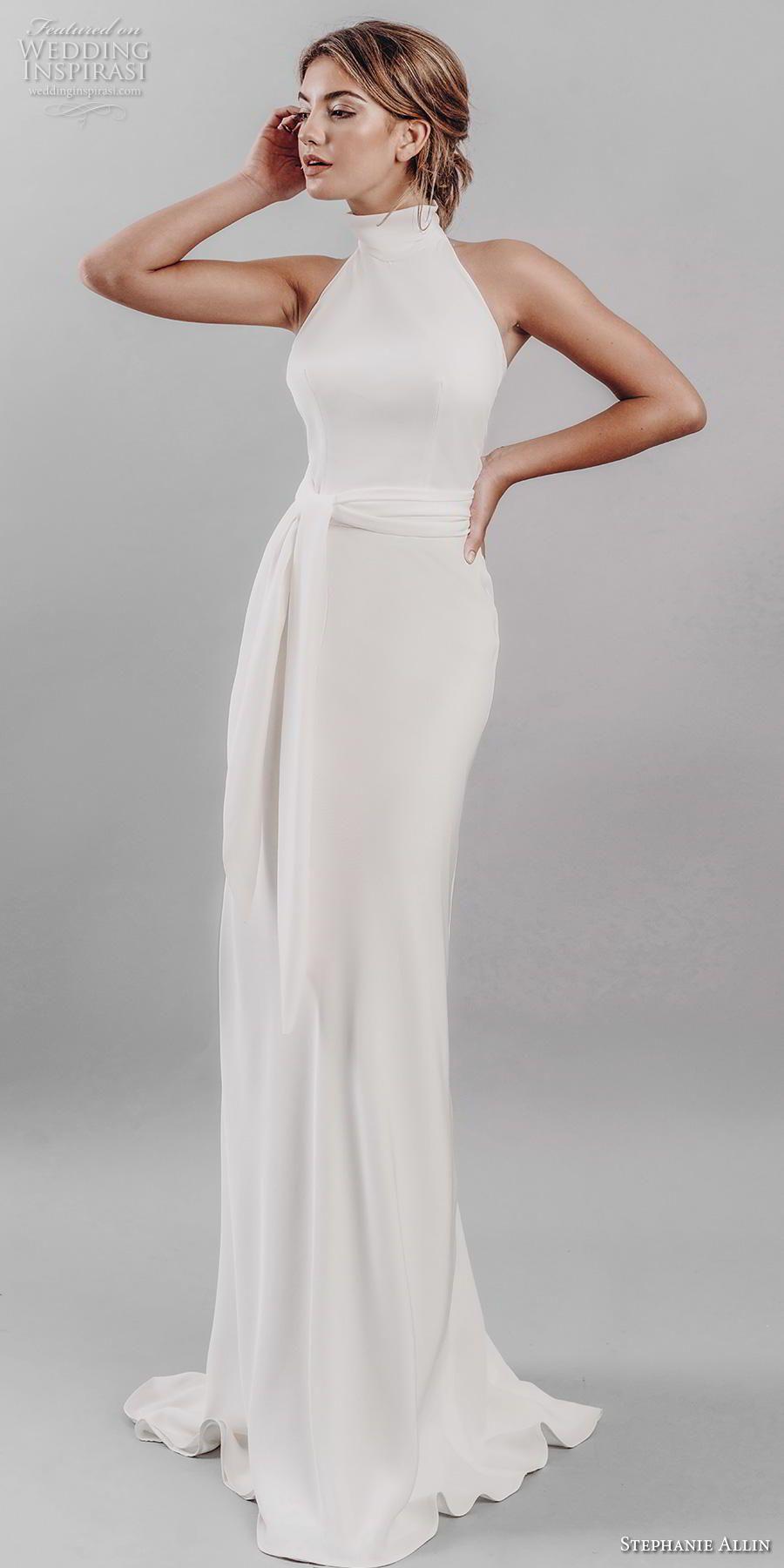 7e3d4e61920ca stephanie allin 2019 bridal sleeveless halter neck simple clean minimalist  elegant sheath wedding dress mid back sweep train (14) mv -- Stephanie  Allin 2019 ...