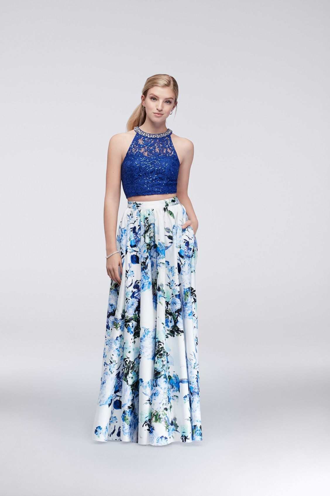 Royal Blue Beauty Lace Crop Top And Printed Chiffon Two Piece Prom