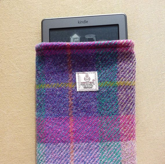 Harris Tweed Kindle Sleeve in purple, pink and green plaid - Made in Scotland
