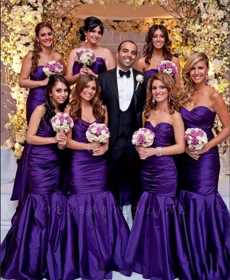 Modern Long Mermaid Purple Sweetheart Bridesmaid Dresses In 2020 Long Bridesmaid Gowns Purple Bridesmaid Dresses Mermaid Bridesmaid Dresses