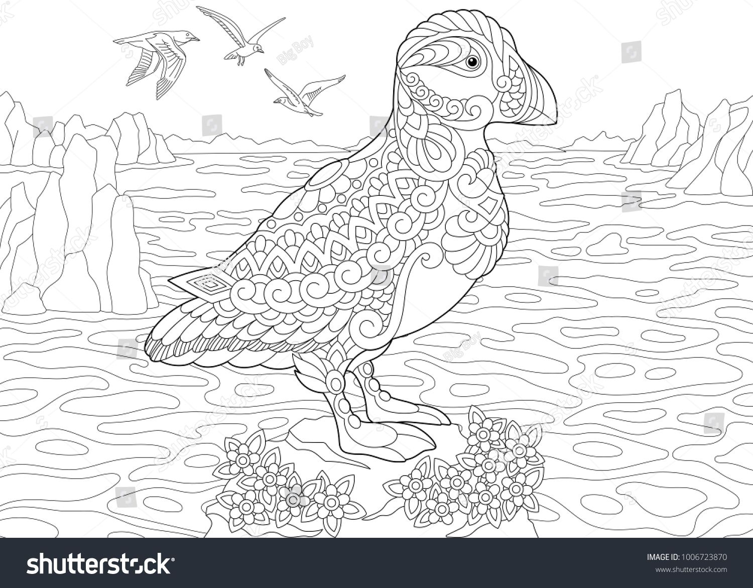 Animal Coloring Page Adult Coloring Book Puffin A Hole Nesting