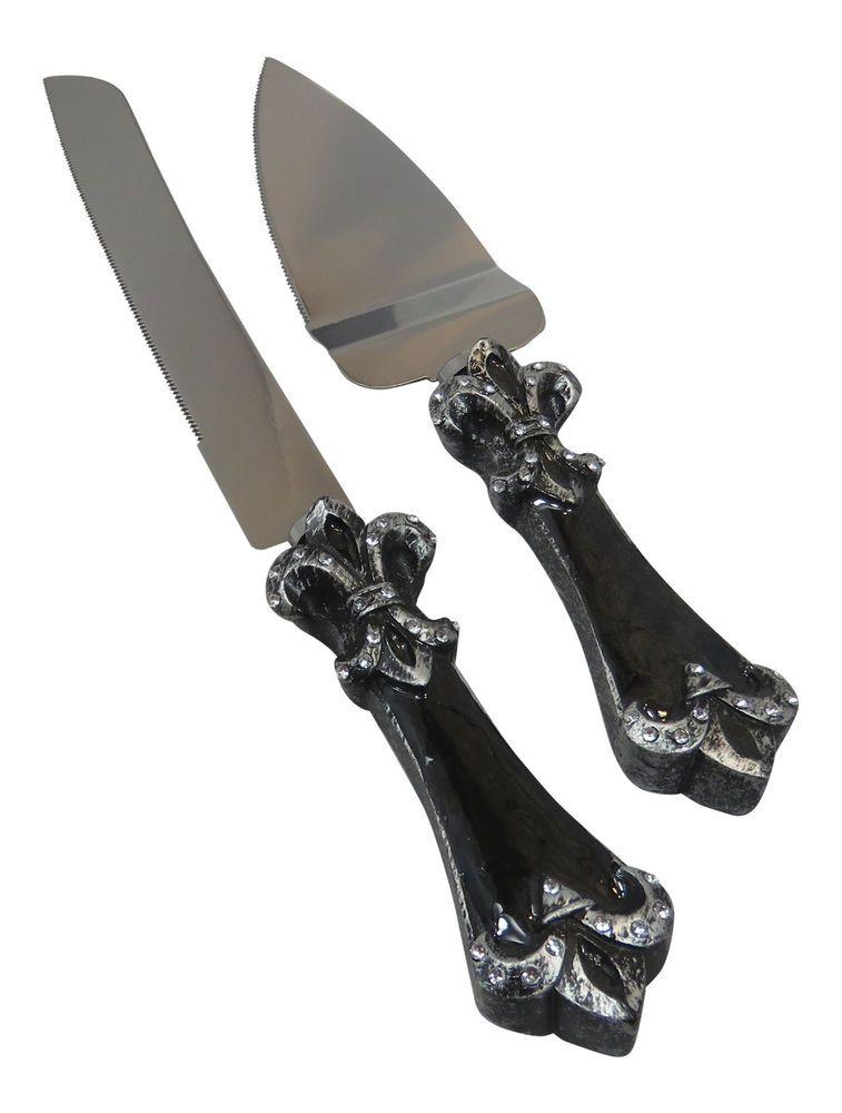 Fleur de lis wedding cake knife and server set stainless