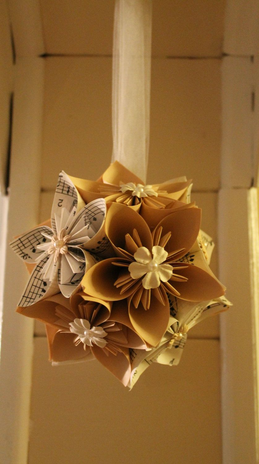 Sheet Music Origami Flower Ballpomander Free Shipping 3499