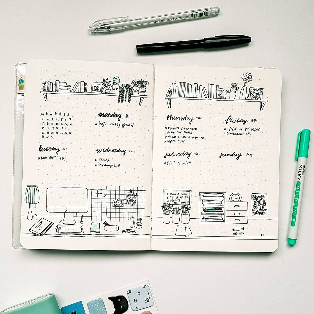 Bullet Journal Weekly Layout Bookshelf Drawing Office Cursive Daily Headers