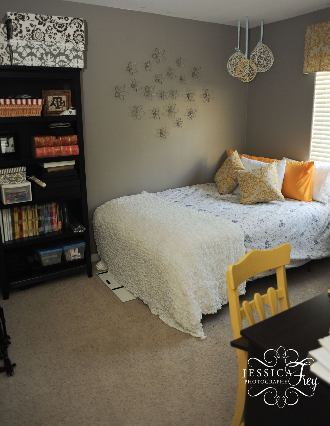 Fascinating Grey And Yellow Bedroom Photo With