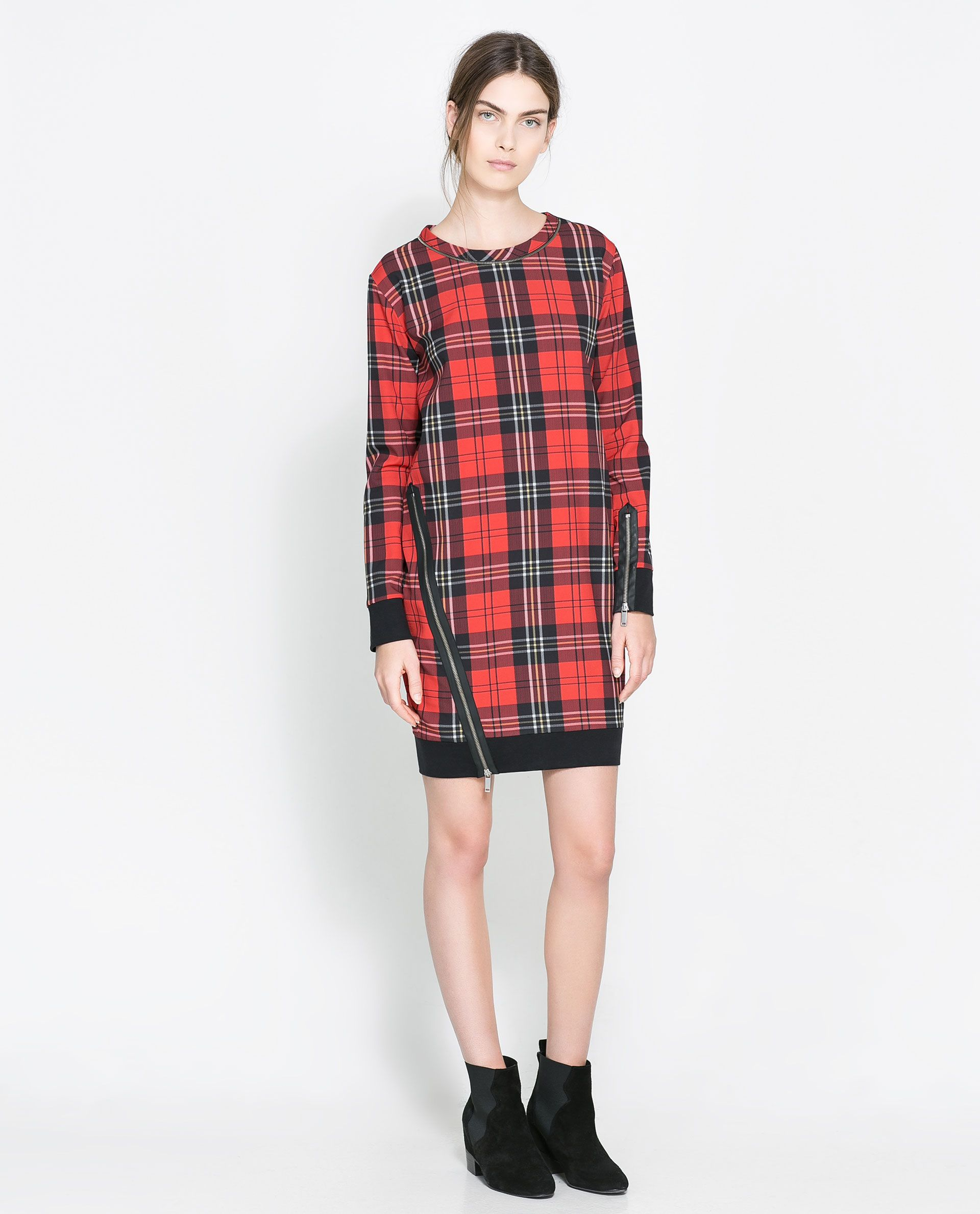 77990b76 CHECKED DRESS WITH ZIPS- ZARA 799.900 IDR | 499900 | Zara dresses ...